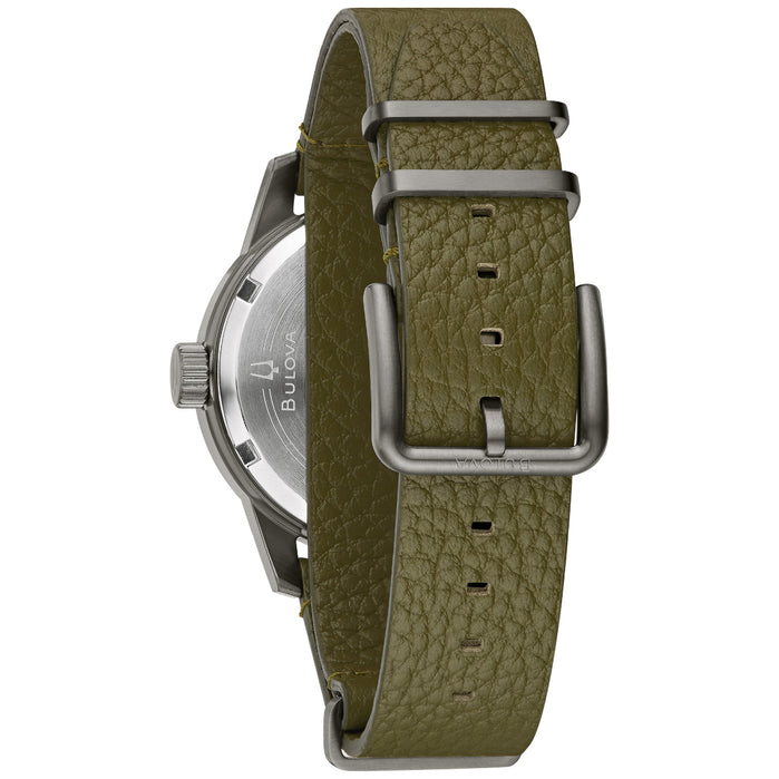 Bulova Hack Automatic Gunmetal Green angled shot picture