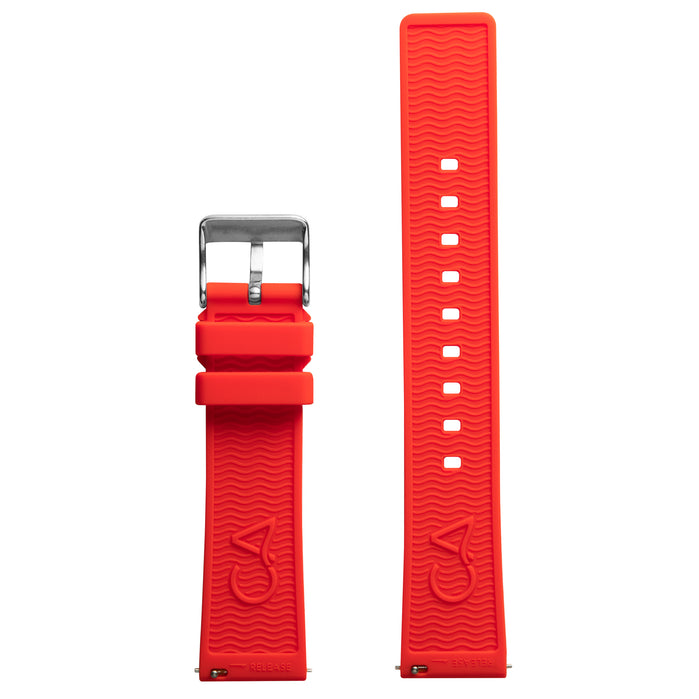 California Watch Co. 20mm Red Silicone Strap angled shot picture