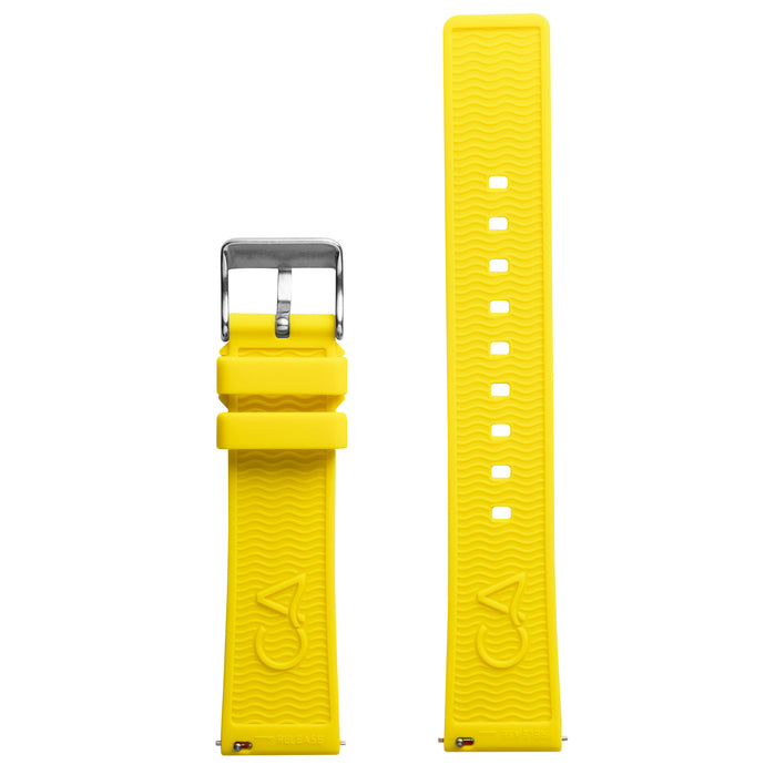 California Watch Co. 20mm Yellow Silicone Strap angled shot picture