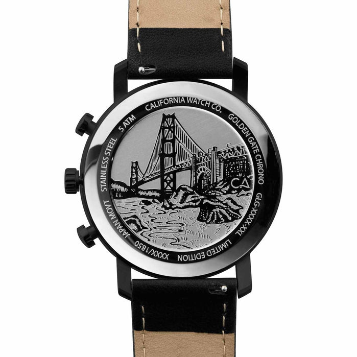 California Watch Co. Golden Gate Chrono Leather All Black Gold angled shot picture