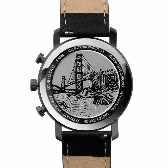 California Watch Co. Golden Gate Chrono Leather Gunmetal Red angled shot picture