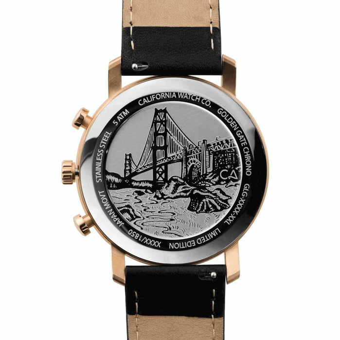 California Watch Co. Golden Gate Chrono Leather Rose Gold Black angled shot picture
