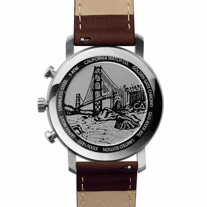 California Watch Co. Golden Gate Chrono Leather Dark Brown Green angled shot picture