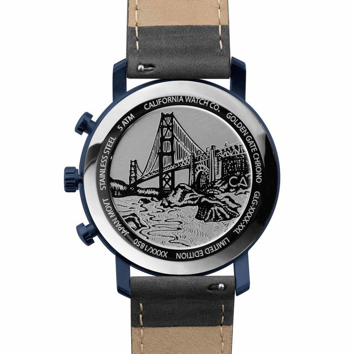 California Watch Co. Golden Gate Chrono Leather Deep Blue Gray angled shot picture