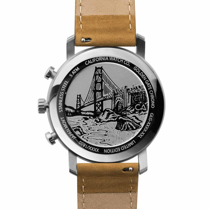 California Watch Co. Golden Gate Chrono Leather Sand Navy angled shot picture