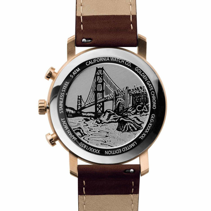 California Watch Co. Golden Gate Chrono Leather Rose Gold White angled shot picture