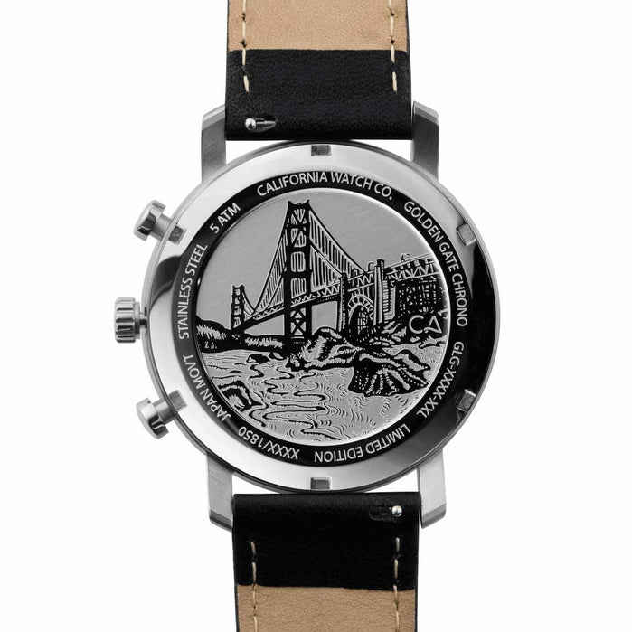 California Watch Co. Golden Gate Chrono Leather Silver Black angled shot picture