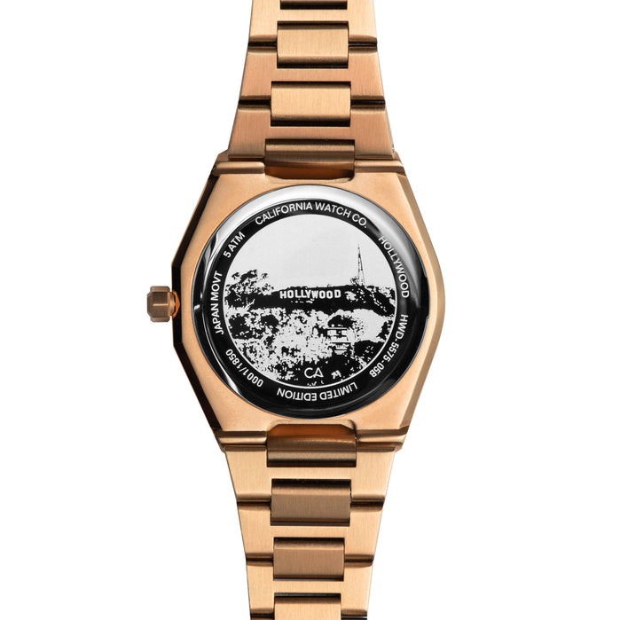 California Watch Co. Hollywood 32 Rose Gold Black angled shot picture