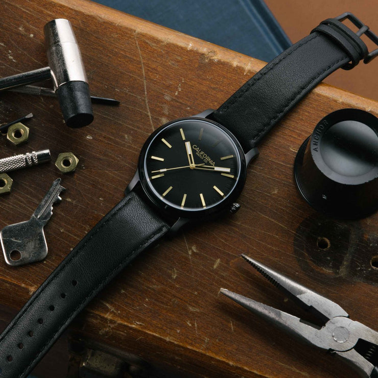 California Watch Co. Laguna 40 Leather All Black Gold