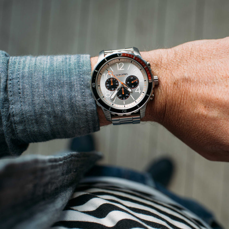 California Watch Co. Mavericks Chrono SS Silver Orange wrist