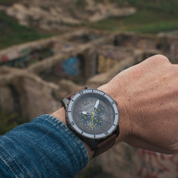 California Watch Co. Mavericks Chrono Leather Gunmetal Brown WRIST
