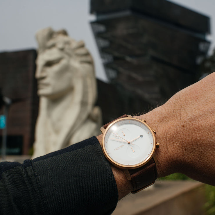 California Watch Co. Golden Gate Chrono Leather Rose Gold White