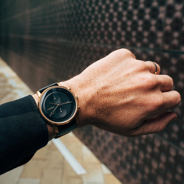 California Watch Co. Golden Gate Chrono Leather Rose Gold Black wrist