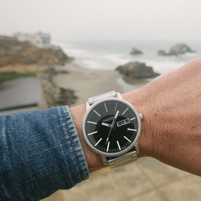California Watch Co. Mojave SS Silver Black Smoke angled shot picture