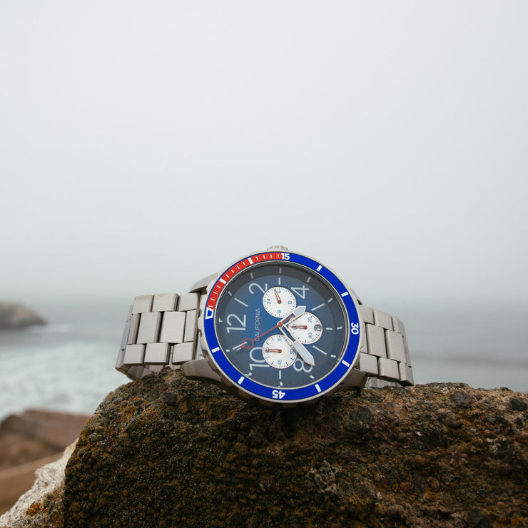 California Watch Co. Mavericks Chrono SS Navy Red