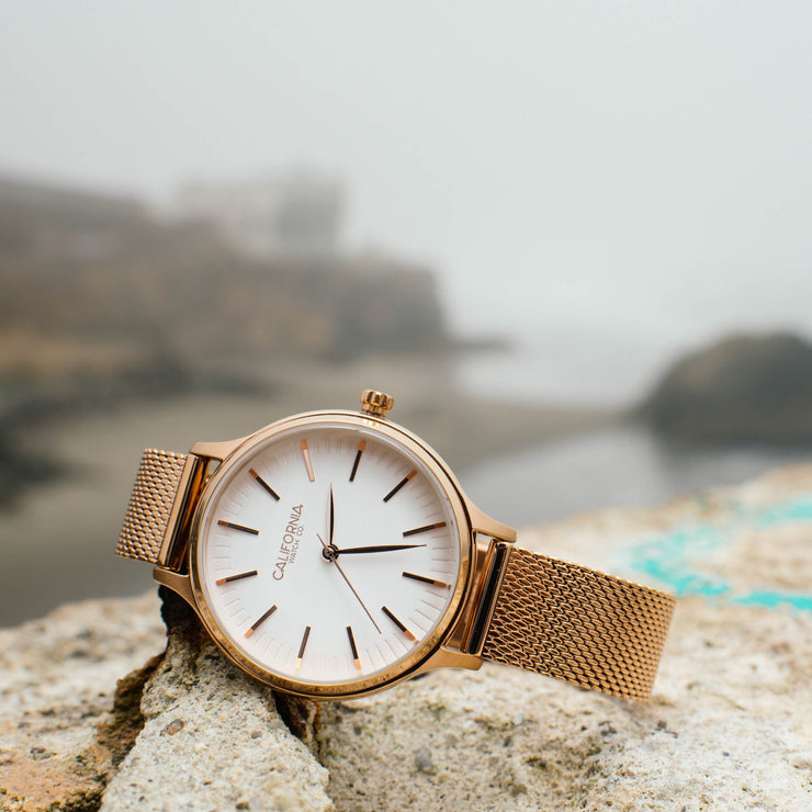 California Watch Co. Laguna 34 Mesh Rose Gold White