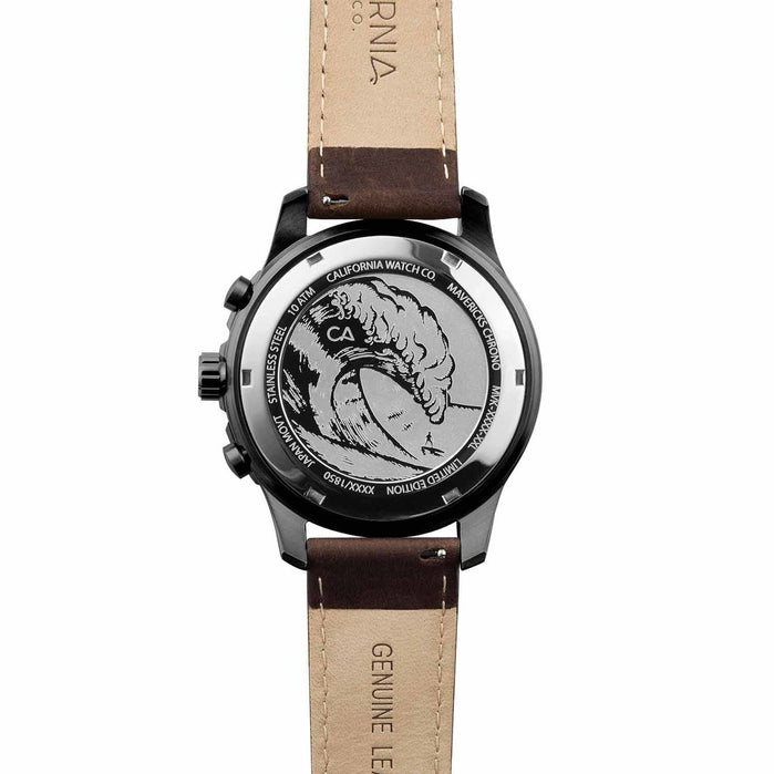 California Watch Co. Mavericks Chrono Leather Gunmetal Brown angled shot picture