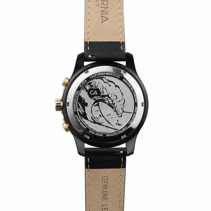 California Watch Co. Mavericks Chrono Leather All Black Gold angled shot picture