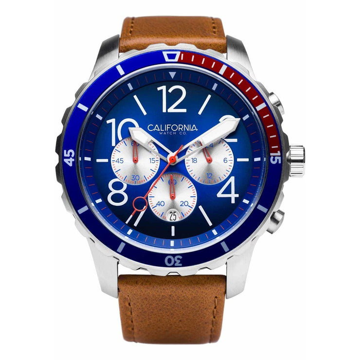 California Watch Co. Mavericks Chrono Leather Brown Navy Red