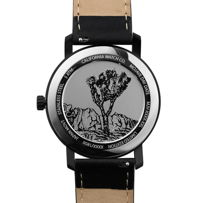 California Watch Co. Mojave Leather All Black Smoke angled shot picture