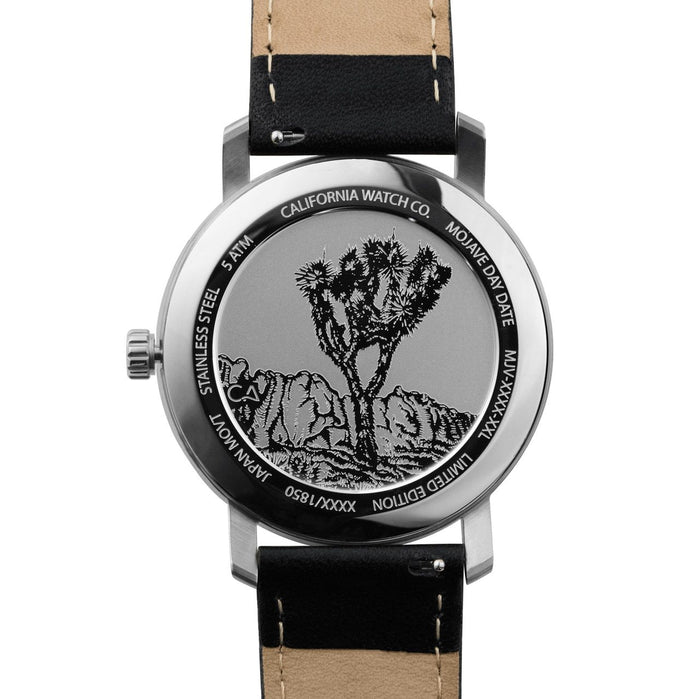 California Watch Co. Mojave Leather Black Silver angled shot picture