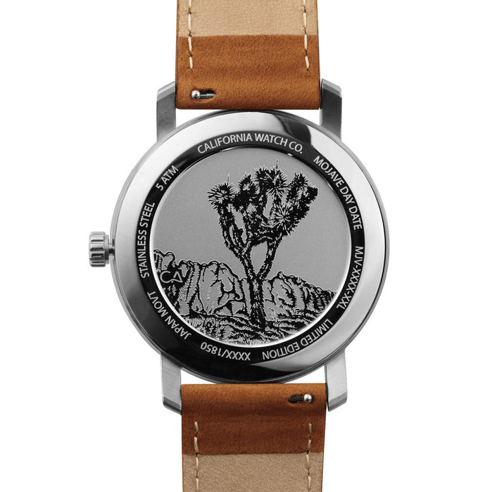California Watch Co. Mojave Leather Brown Navy angled shot picture
