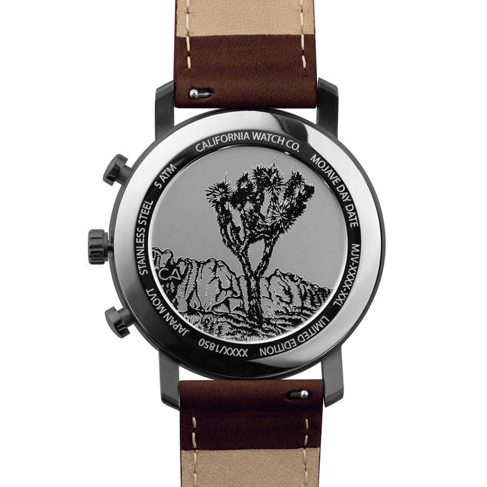 California Watch Co. Mojave Leather Dark Brown Green angled shot picture