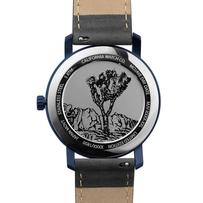 California Watch Co. Mojave Leather Deep Blue Gray angled shot picture