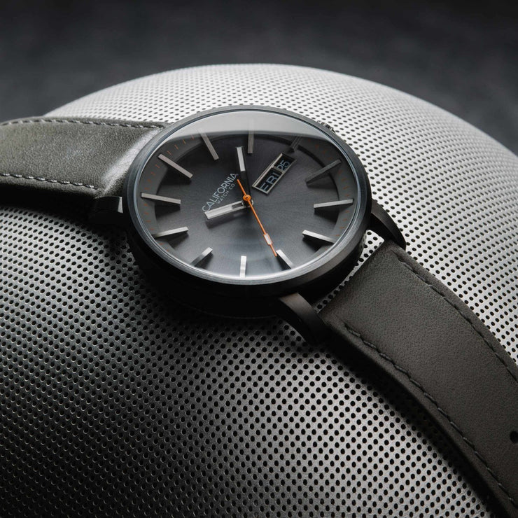 California Watch Co. Mojave Leather Gunmetal Orange