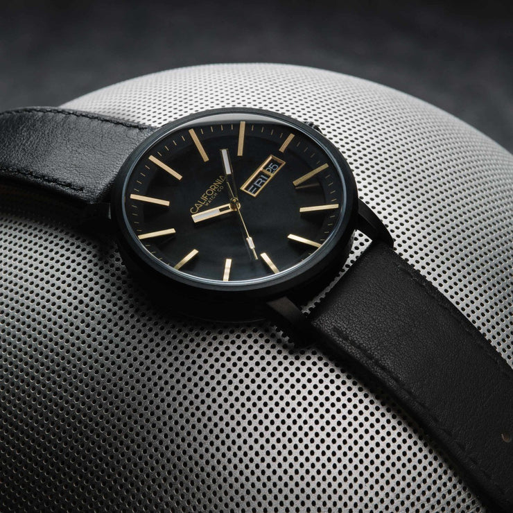 California Watch Co. Mojave Leather All Black Gold