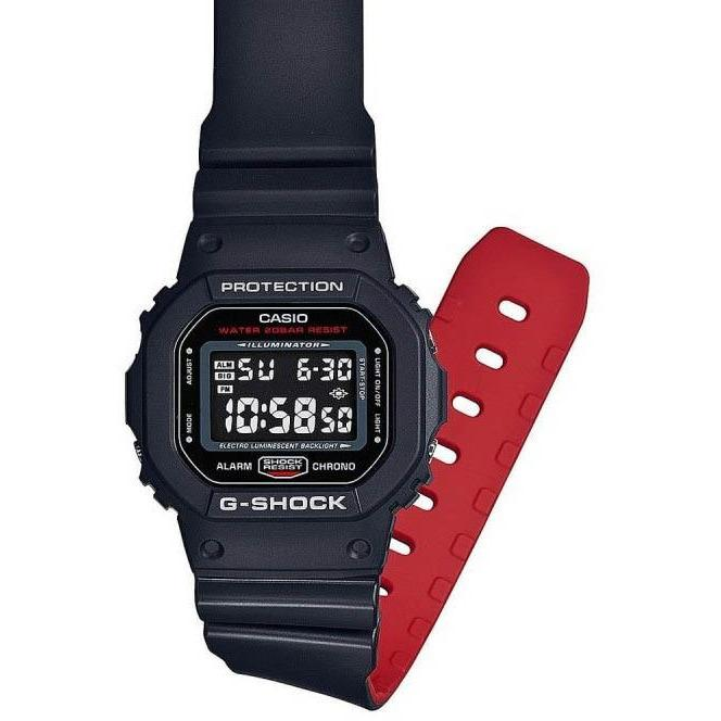 G-Shock DW-5600HR Classic Digital Black Red angled shot picture