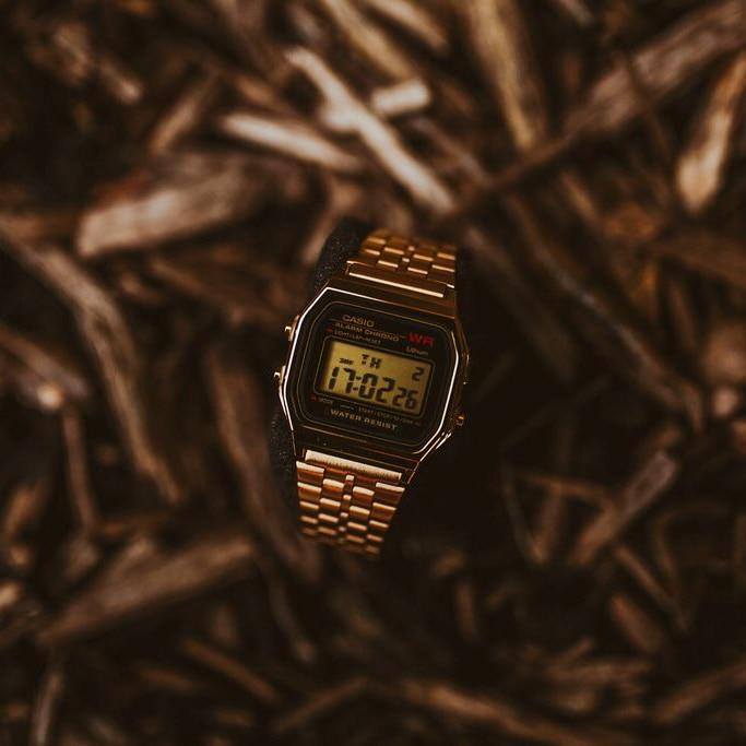 Casio Vintage Digital Black Gold angled shot picture