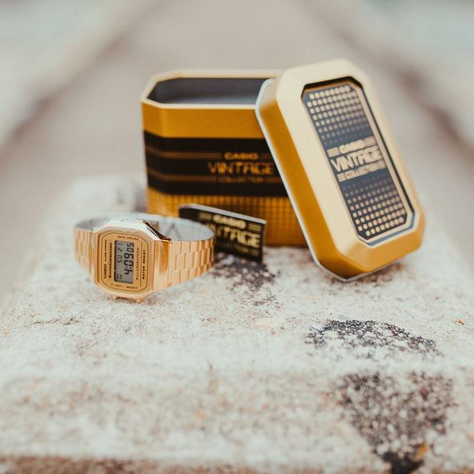 Casio Vintage Digital Gold angled shot picture