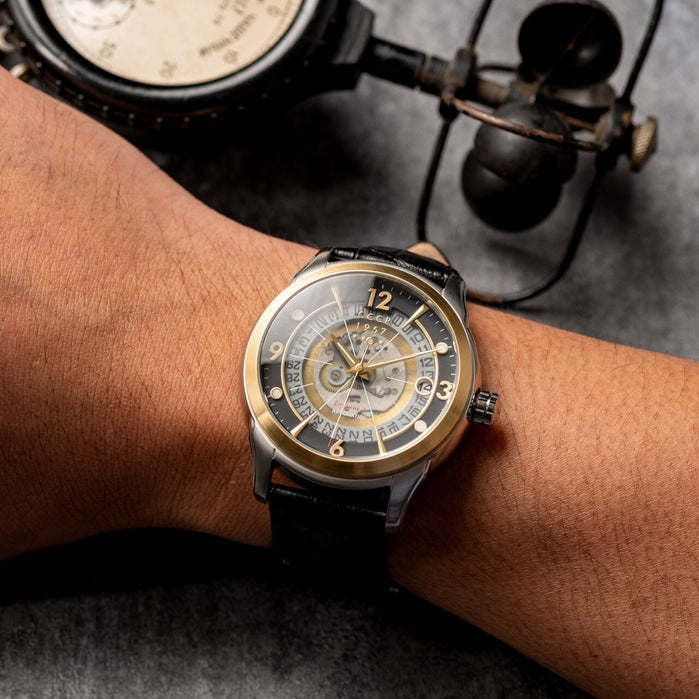 CCCP Sputnik-1 Automatic Silver Gold Black angled shot picture