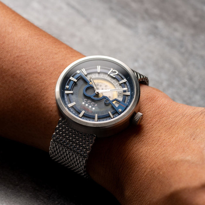 CCCP Kashalot Dress Automatic Silver Blue Mesh angled shot picture