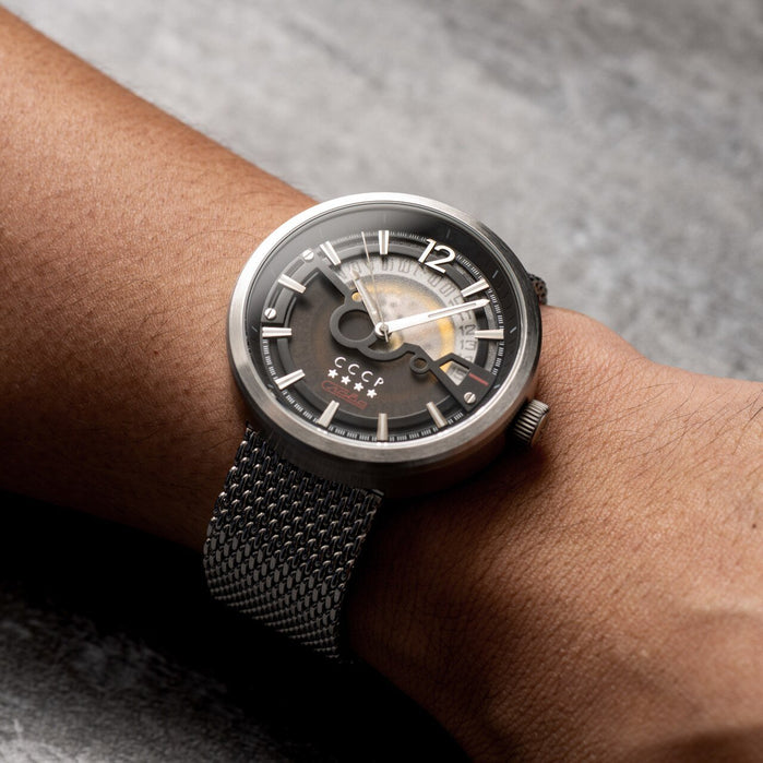 CCCP Kashalot Dress Automatic Silver Black Mesh angled shot picture