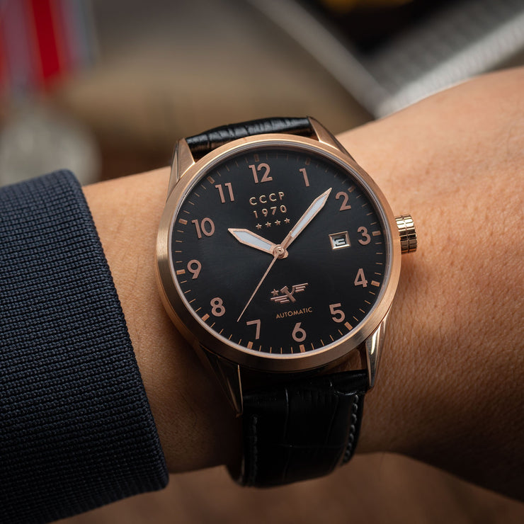 CCCP Golden Soviet Submarine Automatic Rose Gold Black