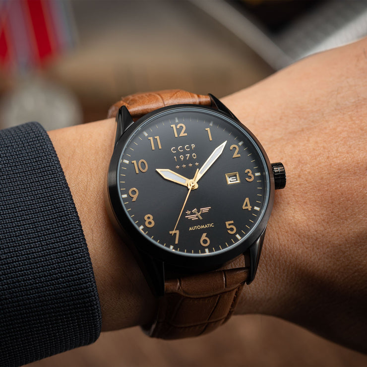 CCCP Golden Soviet Submarine Automatic Black Brown