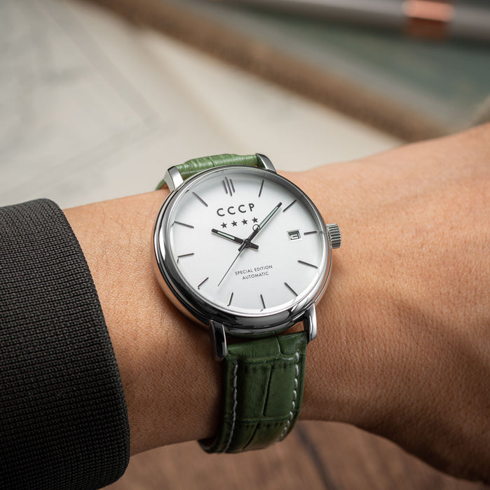 CCCP Heritage Automatic Silver Green angled shot picture