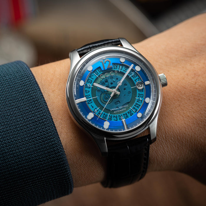CCCP Sputnik-2 Automatic Silver Black Blue angled shot picture