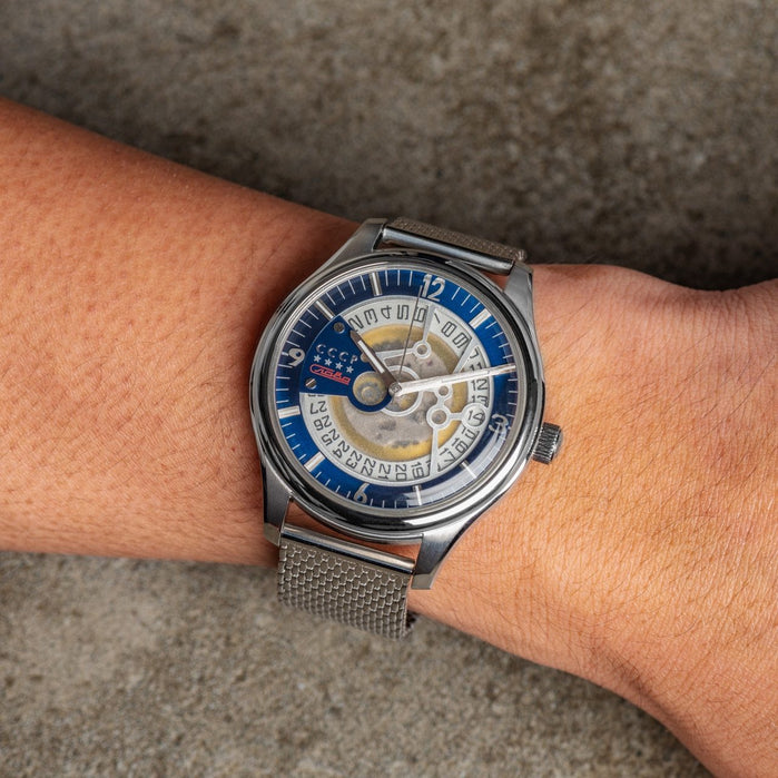CCCP Sputnik-2 Automatic Silver Blue Mesh angled shot picture