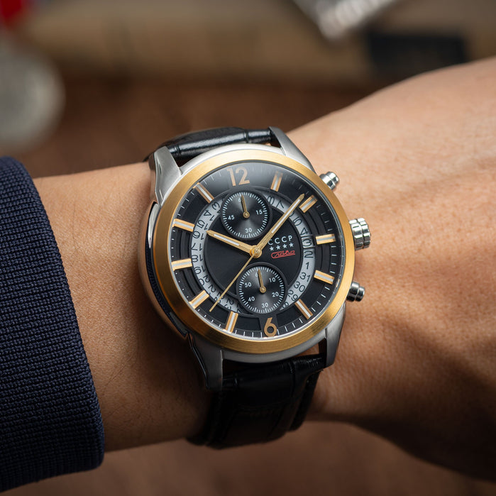 CCCP Balaklava Chronograph Black Gold angled shot picture