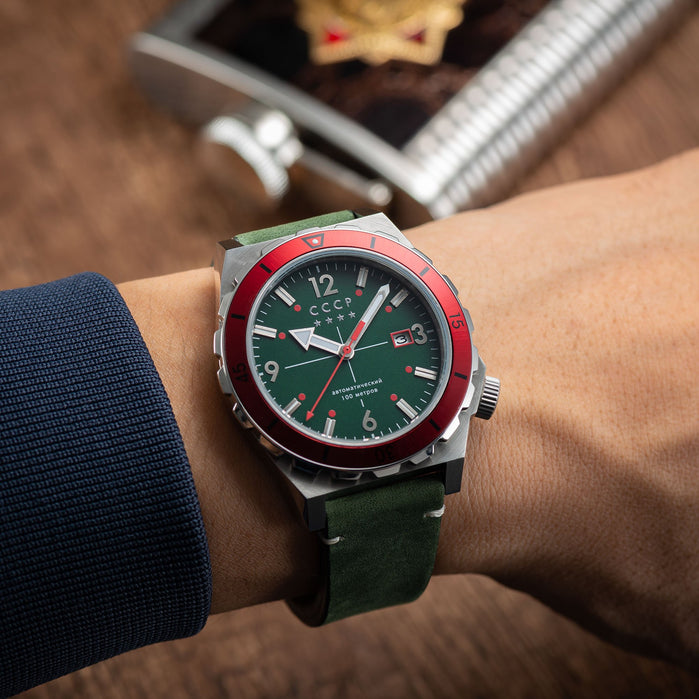 CCCP Aurora Automatic Silver Green angled shot picture