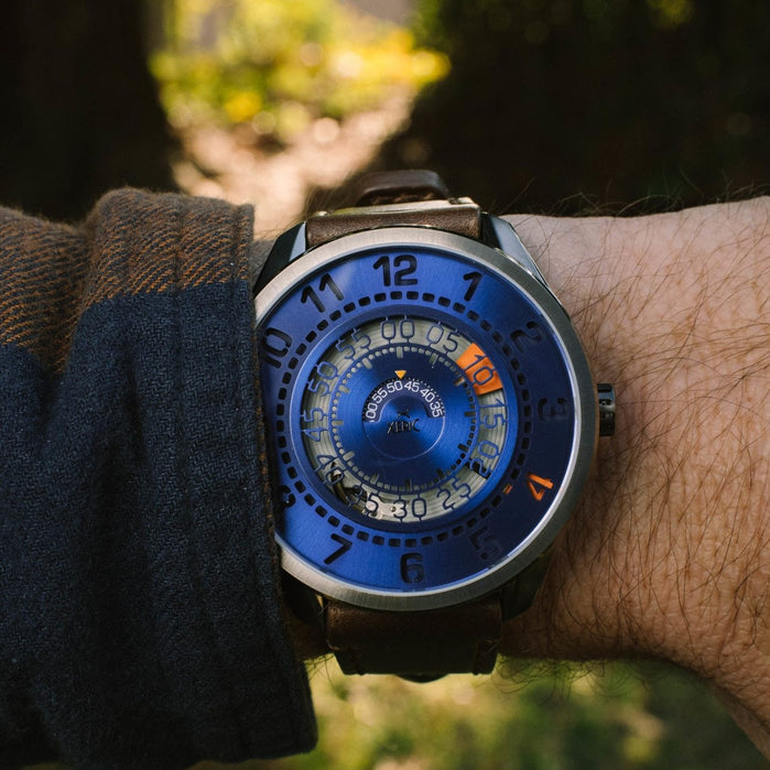 Xeric Cypher Automatic Blue Orange Limited Edition angled shot picture