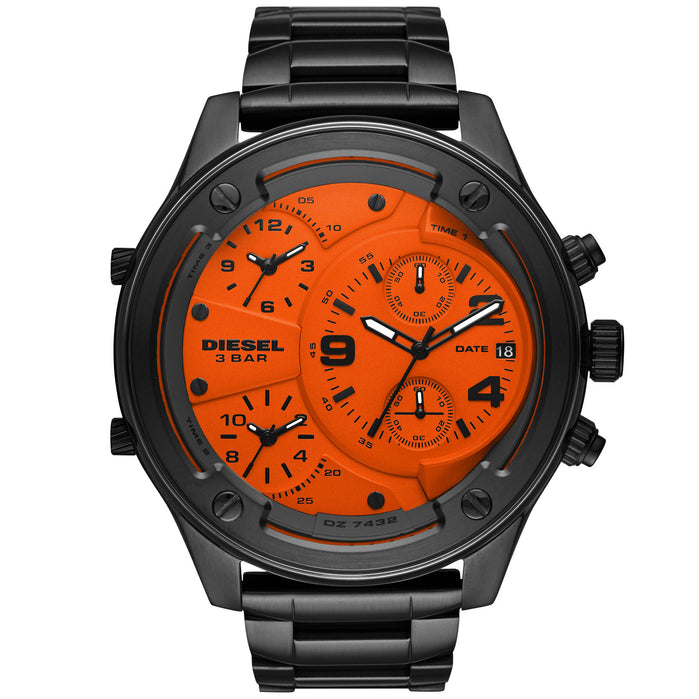Diesel DZ7432 Boltdown Chrono Black Orange Gunmetal SS angled shot picture