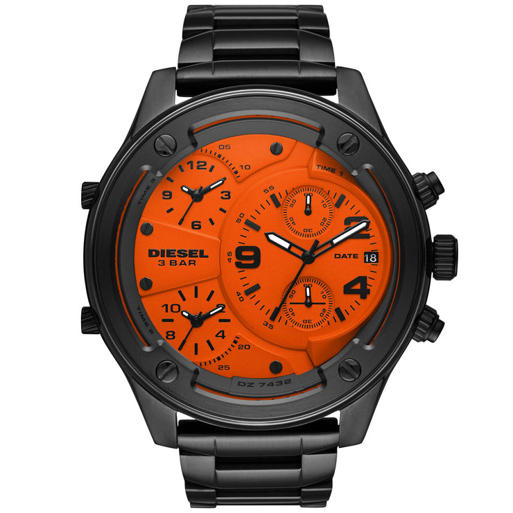 Diesel DZ7432 Boltdown Chrono Black Orange Gunmetal SS