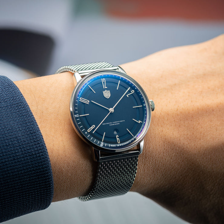 DuFa Bayer Swiss Automatic Silver Mesh Blue