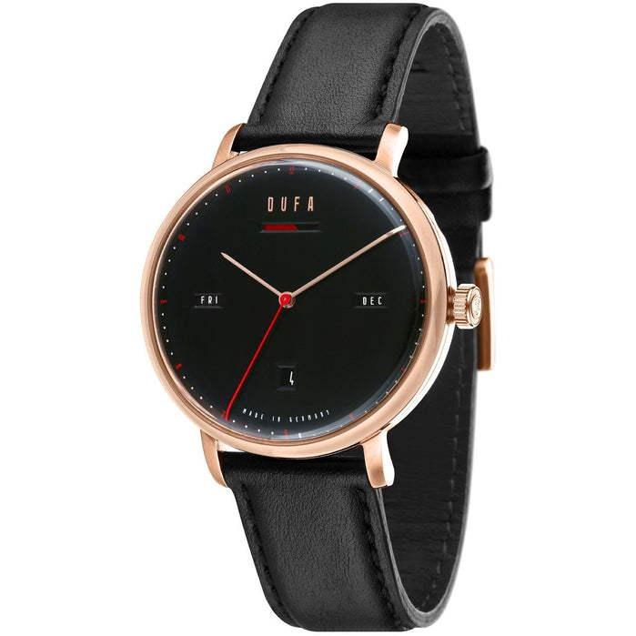 DuFa Aalto Automatic Power Reserve Rose Gold Black angled shot picture