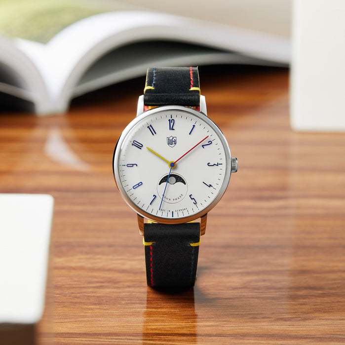 DuFa Element Series Gropius Moonphase Silver Black angled shot picture
