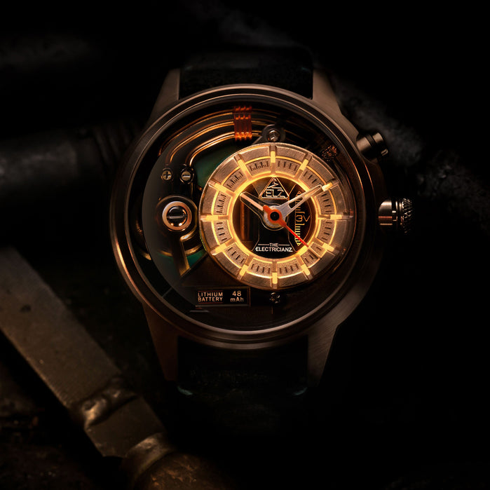 The Electricianz Cazino Rose Gold Green angled shot picture